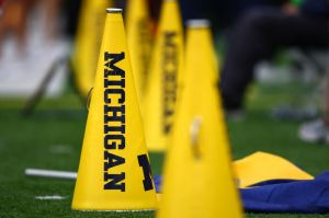 Oct 13, 2012; Ann Arbor, MI, USA; A general view of a Michigan Wolverine megaphone before their game against the Illinois Fighting Illini at Michigan Stadium. Mandatory Credit: Raj Mehta-USA TODAY Sports