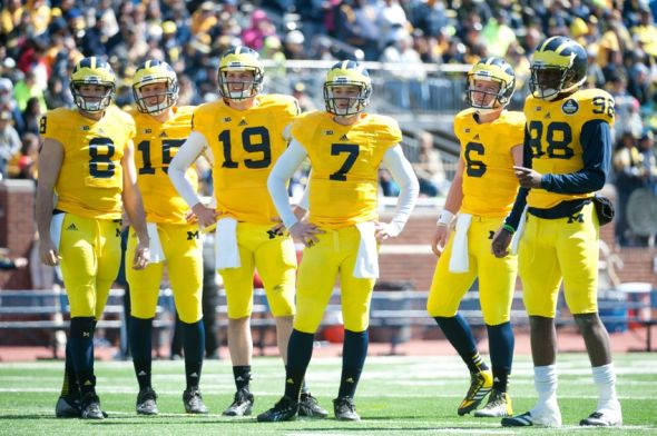 Apr 5, 2014; Ann Arbor, MI, USA; Michigan Wolverines quarterbacks before the Spring Game at Michigan Stadium. Credit: Tim Fuller-USA TODAY Sports