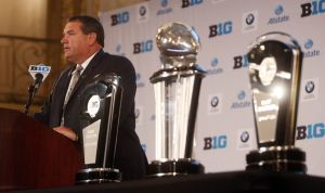 Jul 28, 2014; Chicago, IL, USA; Michigan Wolverines head coach Brady Hoke addresses the media during the Big Ten football media day at Hilton Chicago. Mandatory Credit: Jerry Lai-USA TODAY Sports
