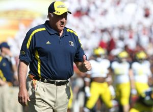 January 1, 2013; Tampa, FL, USA; Michigan Wolverines defensive coordinator Greg Mattison prior of the 2013 Outback Bowl at Raymond James Stadium. Mandatory Credit: Kim Klement-USA TODAY Sports