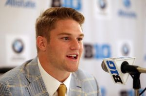 Jul 28, 2014; Chicago, IL, USA; Michigan Wolverines linebacker Jake Ryan addresses the media during the Big Ten football media day at Hilton Chicago. Mandatory Credit: Jerry Lai-USA TODAY Sports