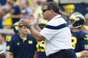 Aug 30, 2014; Ann Arbor, MI, USA; Michigan Wolverines head coach Brady Hoke during warm ups before the game against the Appalachian State Mountaineers at Michigan Stadium. Mandatory Credit: Rick Osentoski-USA TODAY Sports