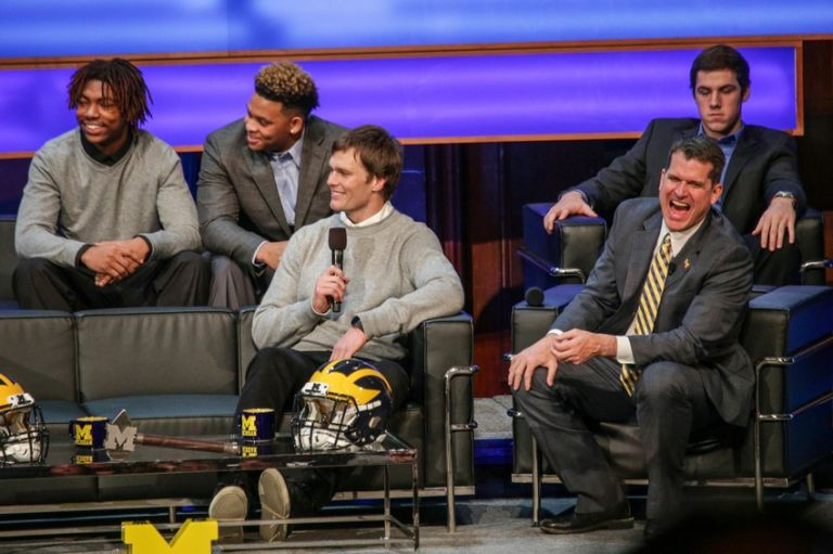 Jim-harbaugh-brandon-peters-tom-brady-high-school-football-national-signing-day-university-of-michigan-768x511