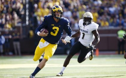 Sep 17, 2016; Ann Arbor, MI, USA; Michigan Wolverines quarterback Wilton Speight (3) runs the ball in the second quarter against the Colorado Buffaloes at Michigan Stadium. Mandatory Credit: Rick Osentoski-USA TODAY Sports