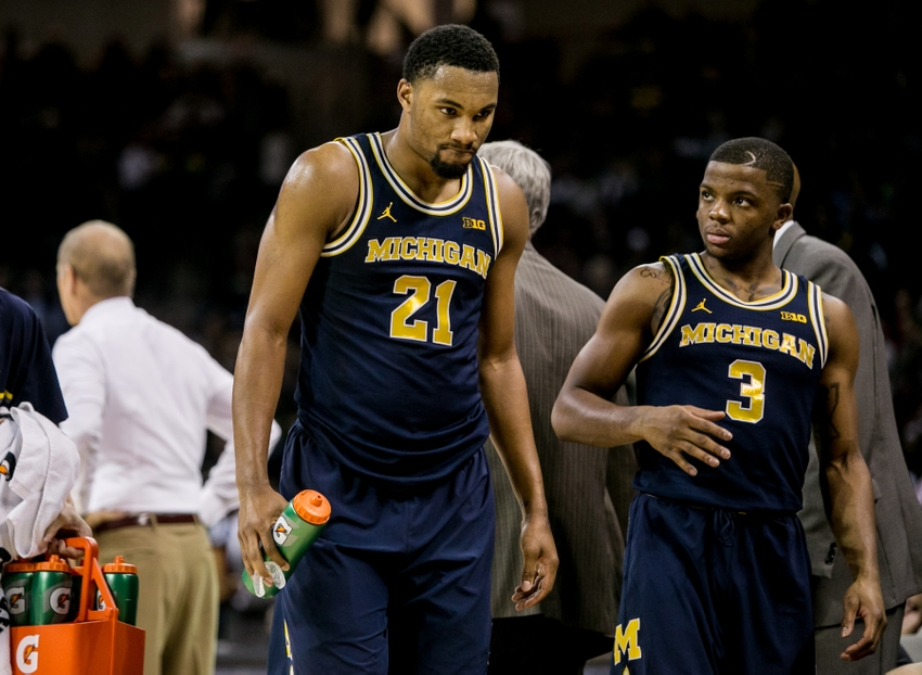 Nov 23, 2016; Columbia, SC, USA; Michigan Wolverines guard Zak Irvin (21) reacts after fouling out against the South Carolina Gamecocks in the second half at Colonial Life Arena. The South Carolina Gamecocks won 61-46. Mandatory Credit: Jeff Blake-USA TODAY Sports