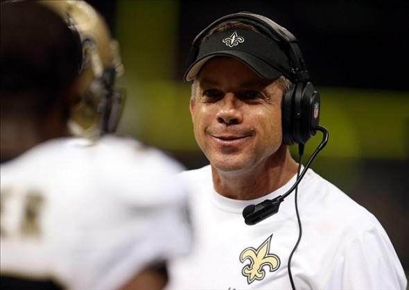 Sep 30, 2013; New Orleans, LA, USA; New Orleans Saints head coach Sean Payton talks to his players on the sidelines during the second half of their game against the Miami Dolphins at the Mercedes-Benz Superdome. Mandatory Credit: Chuck Cook-USA TODAY Sports