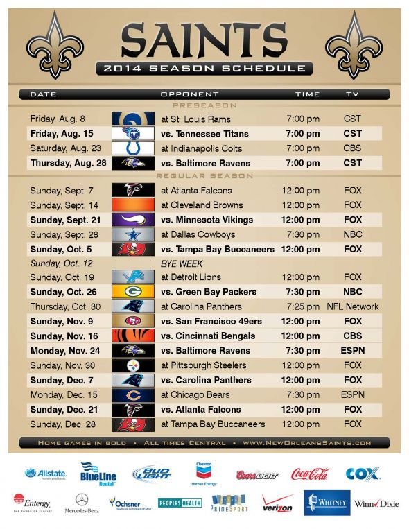 Saints 2014 Schedule