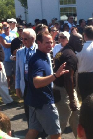 Drew Brees waves to fans at the Greenbrier Picnic With the Saints; July 26, 2014