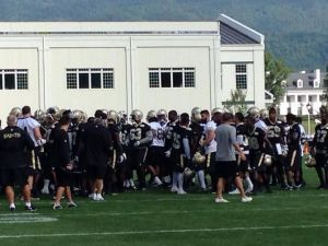 Saints players leaving the field after Walk-Through Practice prior to Picnic Event; July 26, 2014