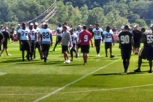 Saints QB Drew Brees and head coach Sean Payton working with the 1st Team offense in Walk-Through Practice ; July 26, 2014