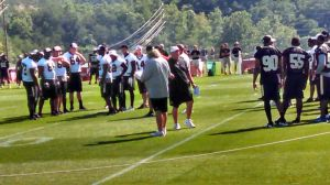 Saints defensive coordinator Rob Ryan going over defensive alignments in Walk-Through Practice, prior to Greenbrier Picnic event; July 26, 2014