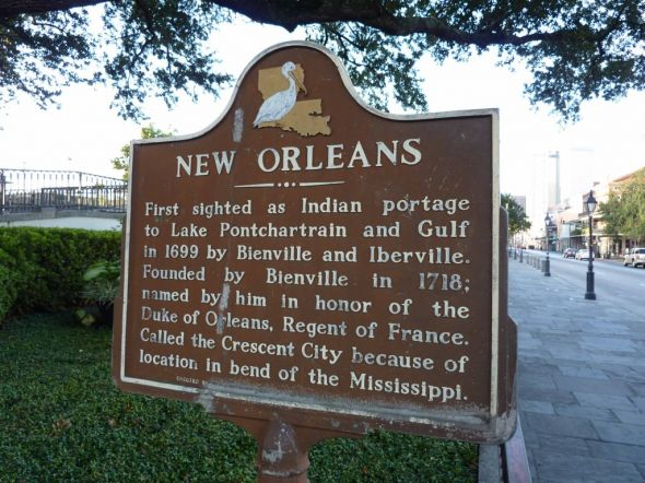 Landmark sign of the city of New Orleans near the French Quarter (Photo courtesy of the Associated Press)