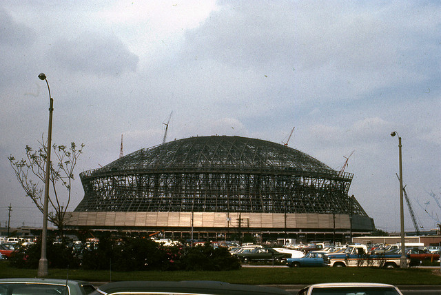 The Louisiana Superdome before completion in early 1975 (Photo courtesy of zimbio.com)
