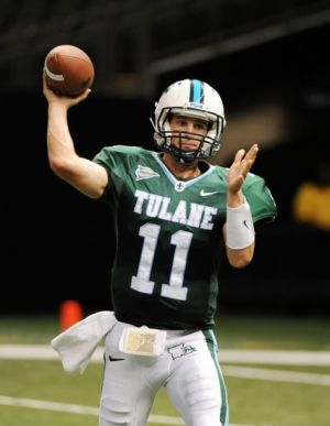 September 1, 2012; New Orleans, LA, USA; Tulane Green Wave quarterback Ryan Griffin (11) makes a throw during their game against the Rutgers Scarlet Knights at the Mercedes-Benz Superdome. Rutgers won, 24-12. Mandatory Credit: Chuck Cook - USA TODAY Sports