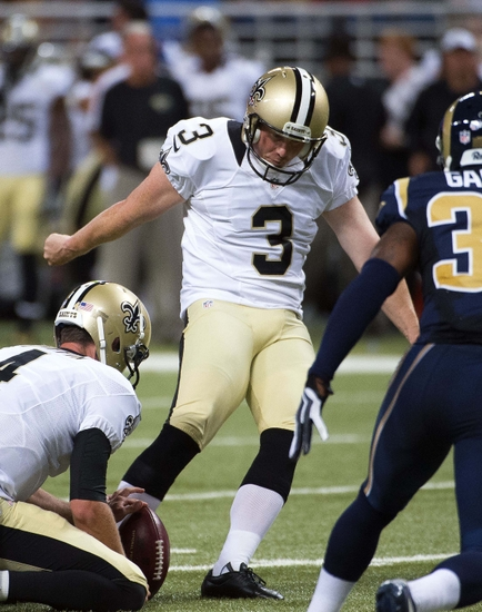 Aug 8, 2014; St. Louis, MO, USA; New Orleans Saints kicker Shayne Graham (3) misses an extra point against the St. Louis Rams at Edward Jones Dome. Mandatory Credit: Scott Rovak-USA TODAY Sports
