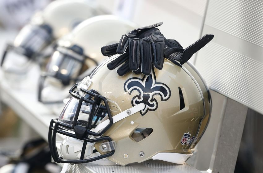 Aug 13, 2015; Baltimore, MD, USA; A New Orleans Saints helmet rests on the bench prior to the Saints