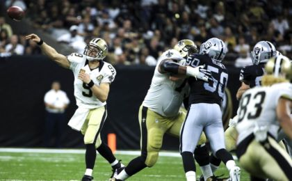 Sep 11, 2016; New Orleans, LA, USA; New Orleans Saints quarterback Drew Brees (9) throws a pass against the Oakland Raiders during the second quarter of a game at the Mercedes-Benz Superdome. Mandatory Credit: Derick E. Hingle-USA TODAY Sports