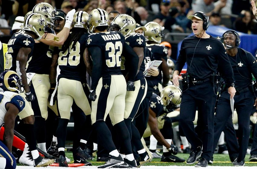 Nov 27, 2016; New Orleans, LA, USA; New Orleans Saints defensive coordinator Dennis Allen (right) celebrates with his team following a defensive stop against the Los Angeles Rams during the first half of a game at the Mercedes-Benz Superdome. Mandatory Credit: Derick E. Hingle-USA TODAY Sports
