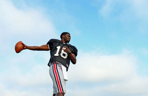 Aug 19, 2013; Columbus, OH, USA; Ohio State Buckeyes quarterback J.T. Barrett (16) during practice at Ackerman Road Field. Mandatory Credit: Andrew Weber-USA TODAY Sports