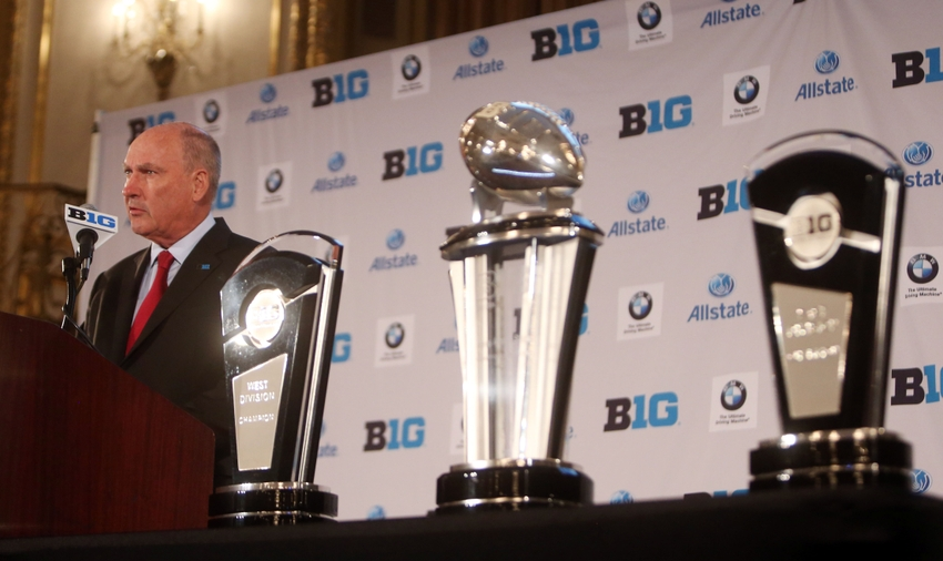 Jul 28, 2014; Chicago, IL, USA; Big Ten commissioner Jim Delany addresses the media during the Big Ten football media day at Hilton Chicago. Mandatory Credit: Jerry Lai-USA TODAY Sports