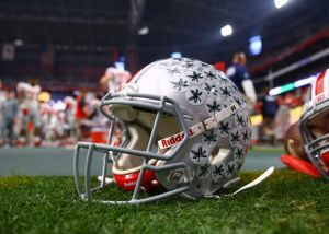 Jan 1, 2016; Glendale, AZ, USA; Detailed view of an Ohio State Buckeyes helmet against the Notre Dame Fighting Irish during the 2016 Fiesta Bowl at University of Phoenix Stadium. Mandatory Credit: Mark J. Rebilas-USA TODAY Sports