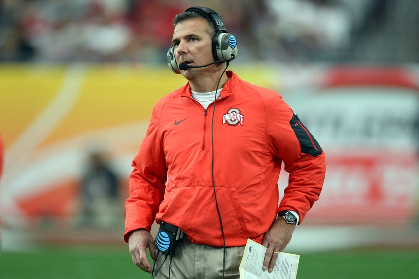 Jan 1, 2016; Glendale, AZ, USA; Ohio State Buckeyes head coach Urban Meyer looks on against the Notre Dame Fighting Irish during the first half of the 2016 Fiesta Bowl at University of Phoenix Stadium. Mandatory Credit: Joe Camporeale-USA TODAY Sports