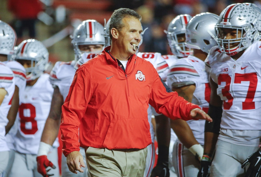Oct 24, 2015; Piscataway, NJ, USA; Ohio State Buckeyes head coach Urban Meyer prior to the game against the Rutgers Scarlet Knights at High Points Solutions Stadium. Mandatory Credit: Jim O