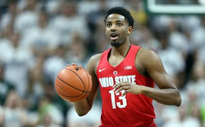 Mar 5, 2016; East Lansing, MI, USA; Ohio State Buckeyes guard JaQuan Lyle (13) dribbles the ball during the first half against the Michigan State Spartans at Jack Breslin Student Events Center. Mandatory Credit: Mike Carter-USA TODAY Sports