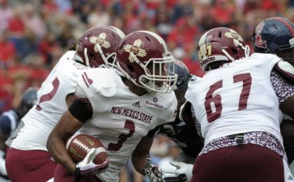 Oct 10, 2015; Oxford, MS, USA; New Mexico State Aggies running back Larry Rose III (3) carries the ball against the Mississippi Rebels during the game at Vaught-Hemingway Stadium. Mississippi Rebels beats New Mexico State Aggies 52-3. Mandatory Credit: Justin Ford-USA TODAY Sports