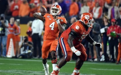 Jan 11, 2016; Glendale, AZ, USA; Clemson Tigers quarterback Deshaun Watson (4) throws a pass during the fourth quarter against the Alabama Crimson Tide in the 2016 CFP National Championship at University of Phoenix Stadium. Mandatory Credit: Kirby Lee-USA TODAY Sports