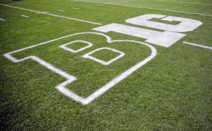 Oct 24, 2015; East Lansing, MI, USA; General view of Big Ten logo on field prior to a game between the Michigan State Spartans and the Indiana Hoosiers at Spartan Stadium. Mandatory Credit: Mike Carter-USA TODAY Sports