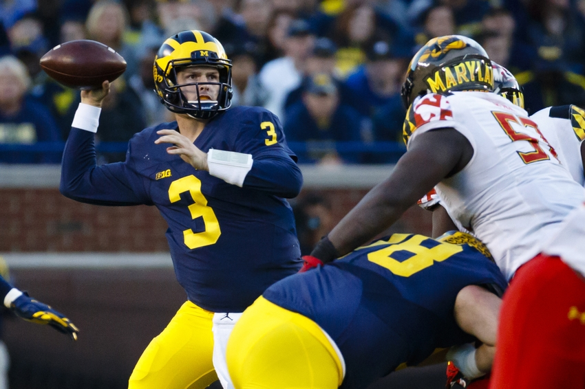 Nov 5, 2016; Ann Arbor, MI, USA; Michigan Wolverines quarterback Wilton Speight (3) passes in the second half against the Maryland Terrapins at Michigan Stadium. Michigan 59-3. Mandatory Credit: Rick Osentoski-USA TODAY Sports