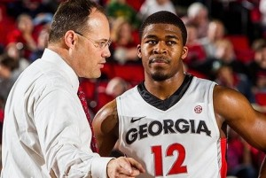 Georgia Bulldogs head coach Mark Fox talks to guard Kenny Gaines Mandatory Credit: Daniel Shirey-USA TODAY Sports