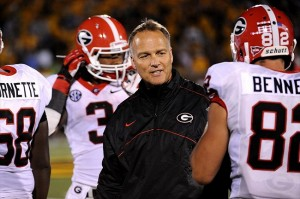 September 8, 2012; Columbia, MO, USA; Georgia Bulldogs head coach Mark Richt talks to his team during the third quarter at Faurot Field. The Georgia Bulldogs defeated the Missouri Tigers 41-20. Mandatory Credit: Dak Dillon-USA TODAY Sports