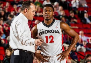 Georgia Bulldogs head coach Mark Fox talks to guard Kenny Gaines (12) Mandatory Credit: Daniel Shirey-USA TODAY Sports