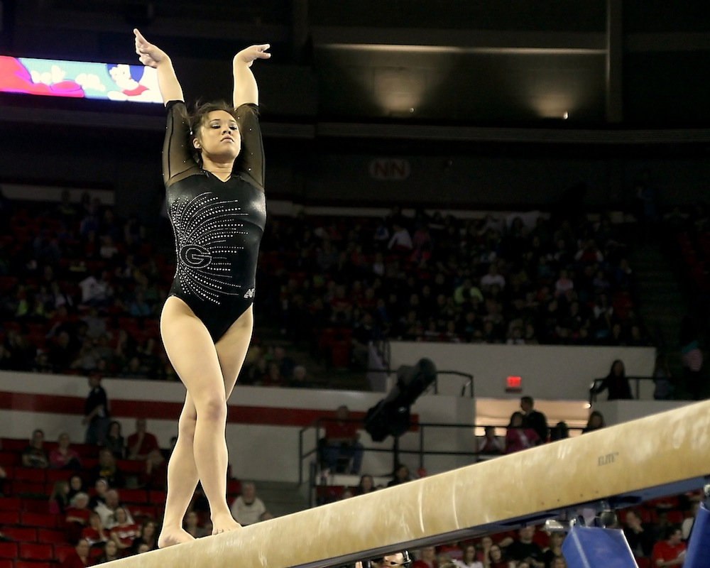 Ashlyn Broussard on the balance beam.