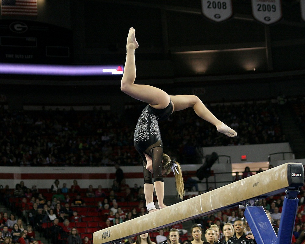Brittany Rogers on the balance beam.