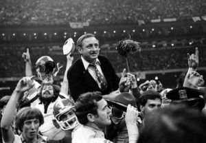 UGA head coach Vince Dooley is carried off the field after beating Notre Dame to win the 1980 National Championship