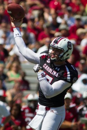 Apr 12, 2014; Columbia, SC, USA; South Carolina Gamecocks quarterback Dylan Thompson (17) throws the ball during the first half of the South Carolina spring game at Williams-Brice Stadium. Mandatory Credit: Joshua S. Kelly-USA TODAY Sports