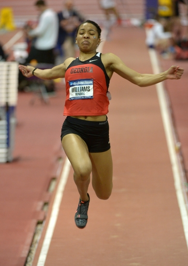 Kendell Williams of Georgia competes) in the pentathlon long jump. Williams was the overall winner in an American junior record 4,635 points. Mandatory Credit: Kirby Lee-USA TODAY Sports