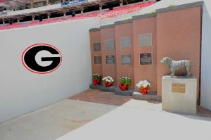 Sep 28, 2013; Athens, GA, USA; The final resting place for the Georgia Bulldogs mascots known as UGA shown inside the stadium before the game against the LSU Tigers at Sanford Stadium. Mandatory Credit: Dale Zanine-USA TODAY Sports