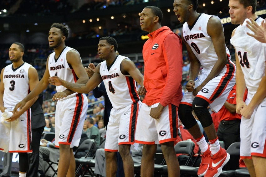 Georgia Basketball players celebrate during Monday nights game with George Washington