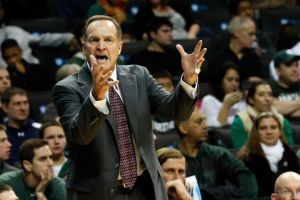 Nov 23, 2013; Brooklyn, NY, USA; Oklahoma Sooners head coach Lon Kruger reacts during the first half against the Michigan State Spartans at Barclays Center. Mandatory Credit: Anthony Gruppuso-USA TODAY Sports