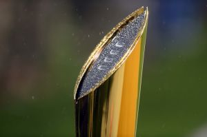 Nov 14, 2015; Waco, TX, USA; A general view of the College Football Playoff National Championship Trophy during the game between the Baylor Bears and the Oklahoma Sooners at McLane Stadium. Oklahoma won 44-34. Mandatory Credit: Joe Camporeale-USA TODAY Sports