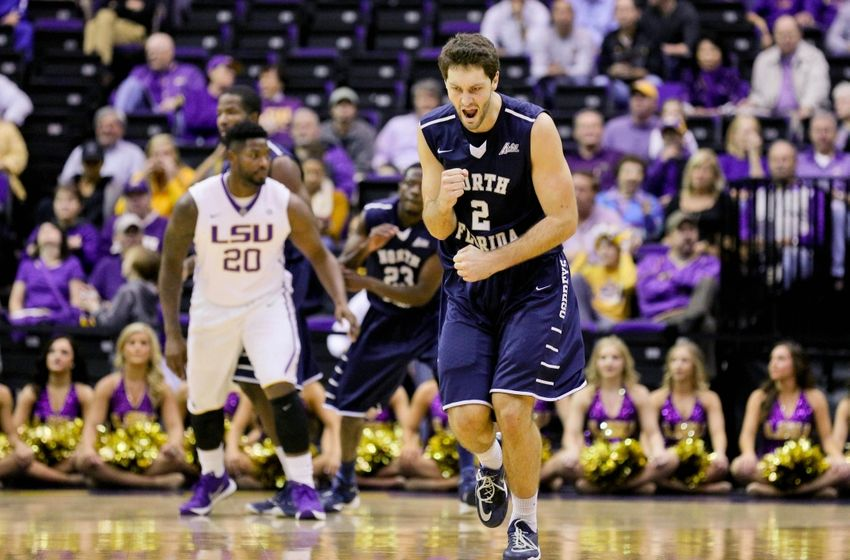 Dec 2, 2015; Baton Rouge, LA, USA; North Florida Ospreys guard Beau Beech (2) celebrates after a basket against the LSU Tigers during the first half of a game at the Pete Maravich Assembly Center. Mandatory Credit: Derick E. Hingle-USA TODAY Sports