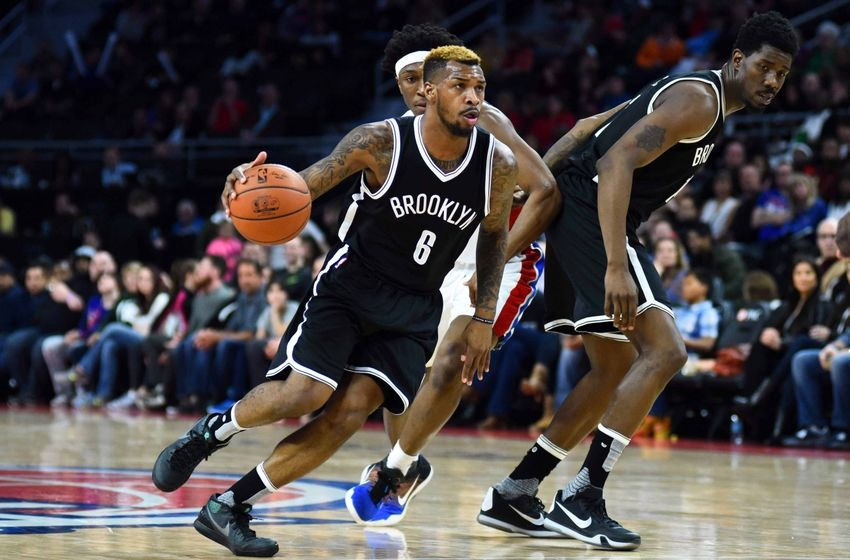 Mar 19, 2016; Auburn Hills, MI, USA; Brooklyn Nets guard <a rel=