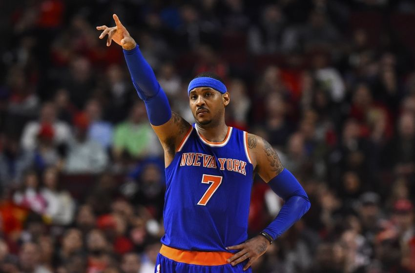 Mar 23, 2016; Chicago, IL, USA; New York Knicks forward Carmelo Anthony (7) reacts after a basket against the Chicago Bulls during the second half at the United Center. Mandatory Credit: Mike DiNovo-USA TODAY Sports