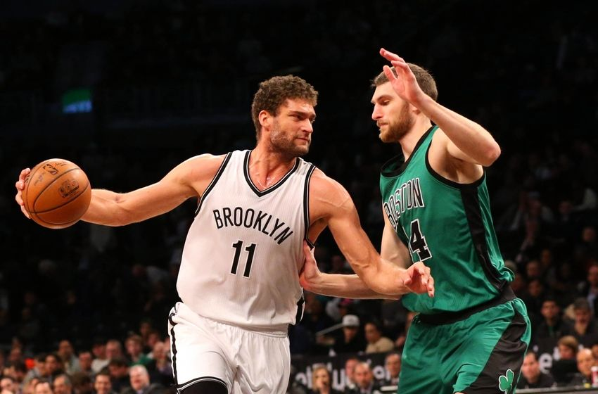 Jan 4, 2016; Brooklyn, NY, USA; Brooklyn Nets center Brook Lopez (11) drives against Boston Celtics center Tyler Zeller (44) during the first quarter at Barclays Center. Mandatory Credit: Anthony Gruppuso-USA TODAY Sports