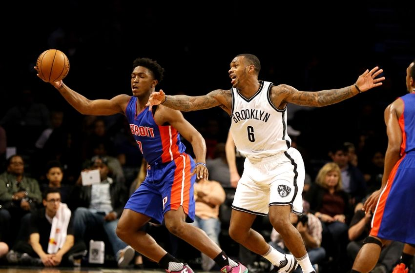 Oct 6, 2016; Brooklyn, NY, USA; Detroit Pistons forward Stanley Johnson (7) plays the ball against Brooklyn Nets guard sean Kilpatrick (6) during the second half at Barclays Center. The Nets won 101-94. Mandatory Credit: Andy Marlin-USA TODAY Sports