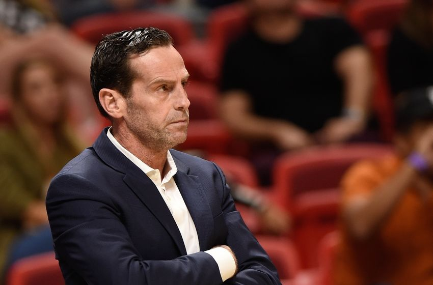 Oct 11, 2016; Miami, FL, USA; Brooklyn Nets head coach Kenny Atkinson looks on during the second half against the Miami Heat at American Airlines Arena. Mandatory Credit: Steve Mitchell-USA TODAY Sports